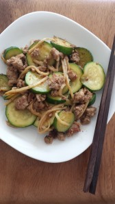 Stir fried minced pork with bamboo shoots and zucchini